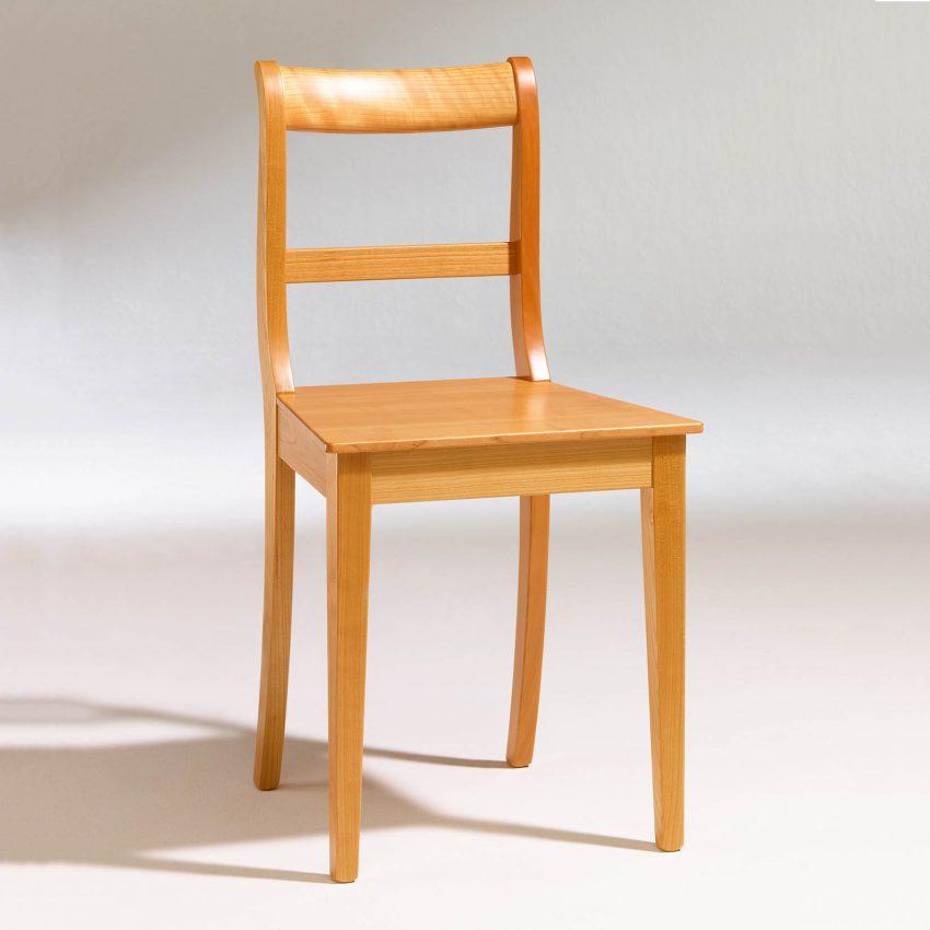 LIGNUM Biedermeier Stuhl in Kirschbaum, Spitzbeine, gerader Steg