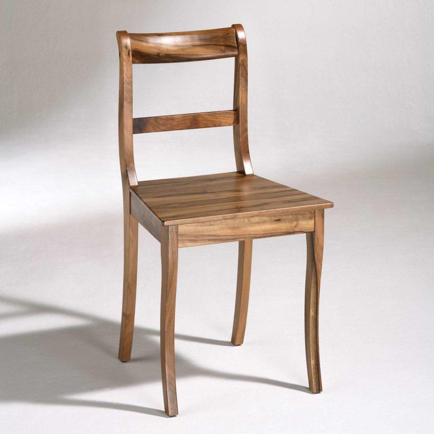 LIGNUM Biedermeier Stuhl in Walnuss, Säbelbeine, gerader Steg