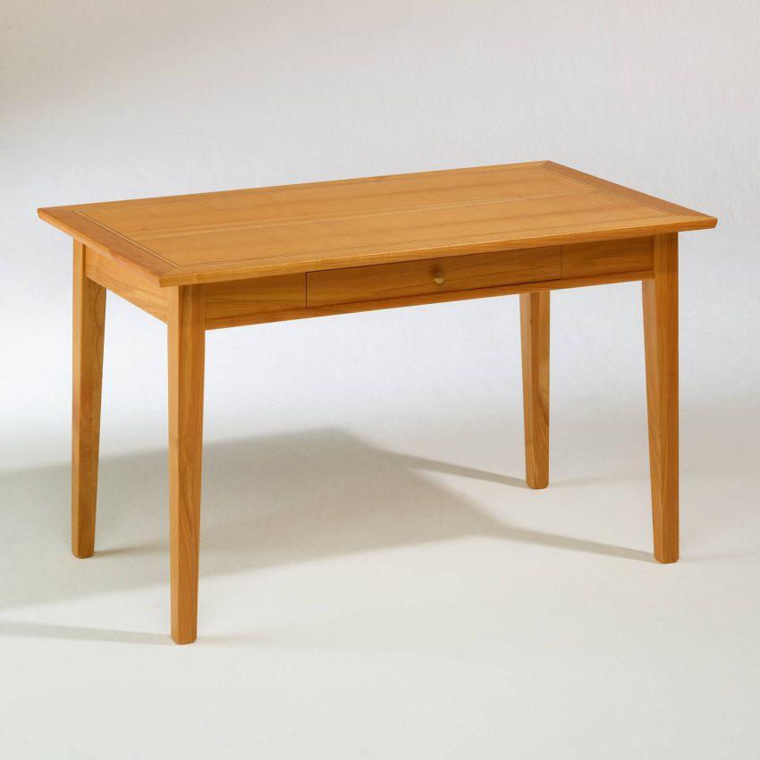 LIGNUM Biedermeier Schreibtisch in Kirschbaum, Dreifachintarsie in Schwarznuss und Ahorn, geschlossene Schublade