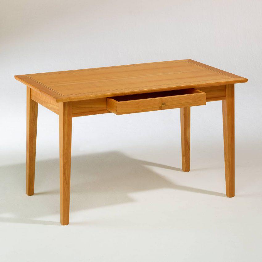 LIGNUM Biedermeier Schreibtisch in Kirschbaum, Dreifachintarsie in Schwarznuss und Ahorn, geöffnete Schublade