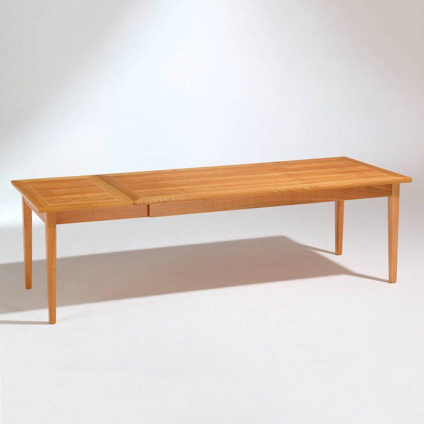 LIGNUM Biedermeier Tisch in Kirschbaum, Intarsie in Ahorn, ausgezogen