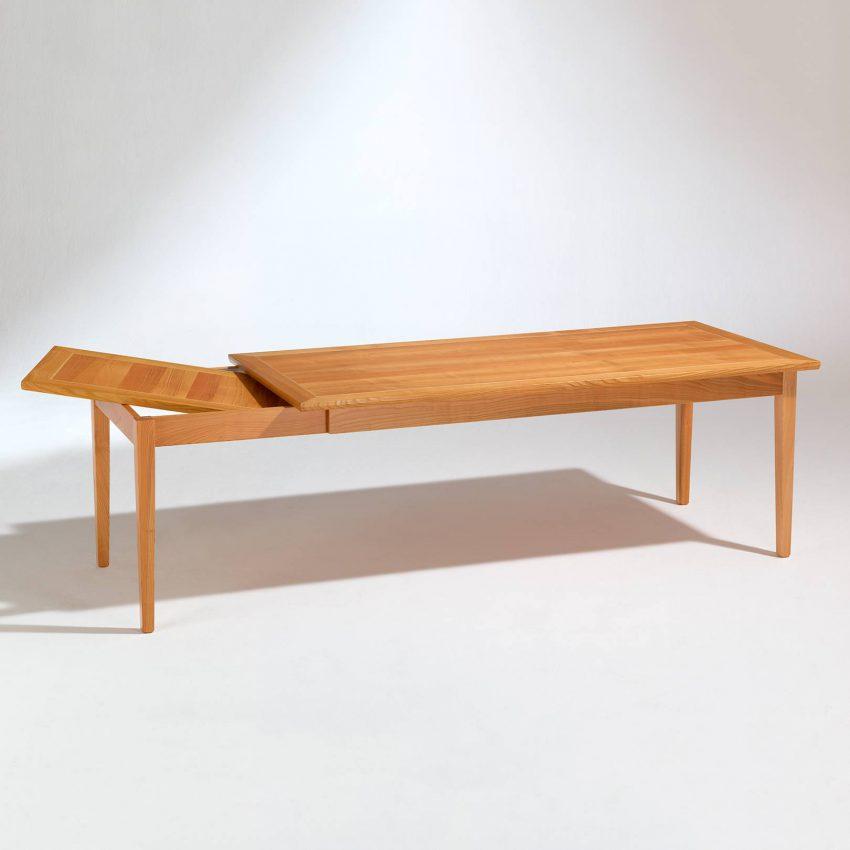 LIGNUM Biedermeier Tisch in Kirschbaum, Intarsie in Ahorn, Verwahrung des Auszugs