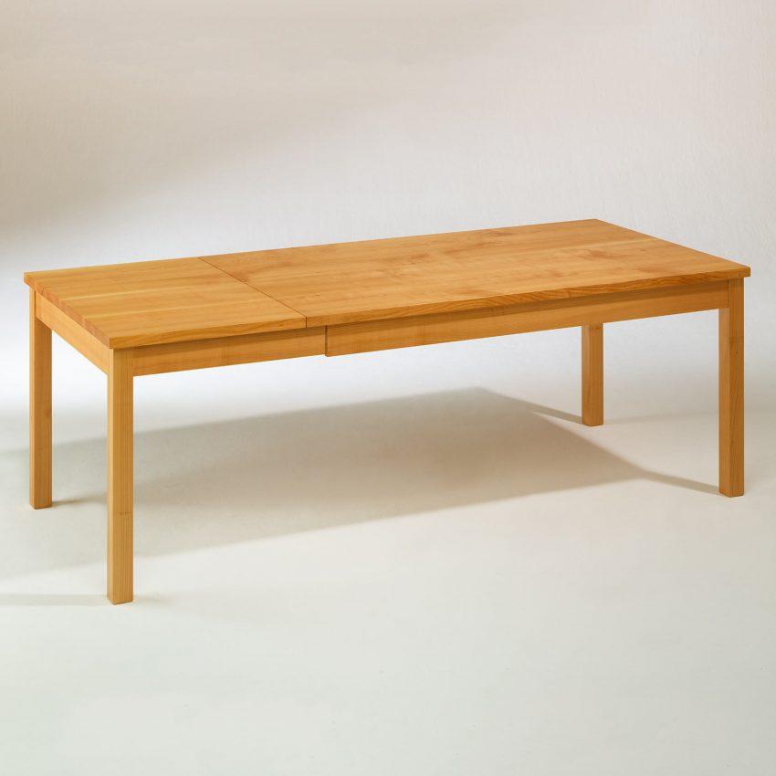 LIGNUM Esstisch mit Auszug in Kirschbaum, Beine gerade, ausgezogen